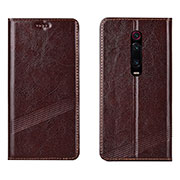 Leather Case Stands Flip Cover T14 Holder for Xiaomi Mi 9T Pro Brown