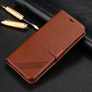 Leather Case Stands Flip Cover T14 Holder for Xiaomi Redmi Note 8 Pro Brown