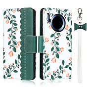 Leather Case Stands Flip Cover T15 Holder for Huawei Mate 30 Pro Green