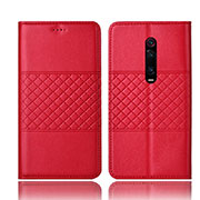 Leather Case Stands Flip Cover T15 Holder for Xiaomi Mi 9T Pro Red