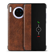 Leather Case Stands Flip Cover T16 Holder for Huawei Mate 30 Pro Brown