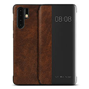 Leather Case Stands Flip Cover T16 Holder for Huawei P30 Pro Brown