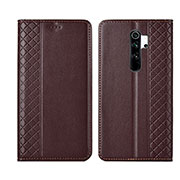 Leather Case Stands Flip Cover T16 Holder for Xiaomi Redmi Note 8 Pro Brown