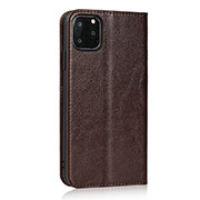 Leather Case Stands Flip Cover T18 Holder for Apple iPhone 11 Pro Brown