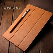 Leather Case Stands Flip Cover with Apple Pencil Holder for Apple iPad Pro 10.5 Brown