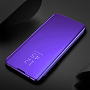 Leather Case Stands Flip Mirror Cover Holder for Xiaomi Redmi Note 8 Purple