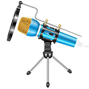 Luxury 3.5mm Mini Handheld Microphone Singing Recording with Stand M03 Blue