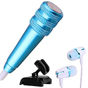 Luxury 3.5mm Mini Handheld Microphone Singing Recording with Stand M08 Blue