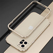 Luxury Aluminum Metal Frame Cover Case N02 for Apple iPhone 12 Pro Gold