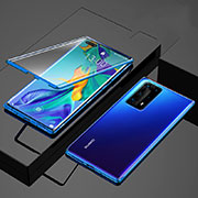 Luxury Aluminum Metal Frame Mirror Cover Case 360 Degrees for Huawei P40 Pro+ Plus Blue