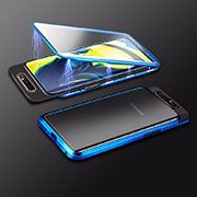 Luxury Aluminum Metal Frame Mirror Cover Case 360 Degrees M01 for Samsung Galaxy A80 Blue