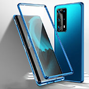 Luxury Aluminum Metal Frame Mirror Cover Case 360 Degrees T01 for Huawei P40 Pro+ Plus Blue