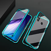 Luxury Aluminum Metal Frame Mirror Cover Case 360 Degrees T01 for Xiaomi Redmi Note 8 Cyan