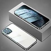 Luxury Aluminum Metal Frame Mirror Cover Case 360 Degrees T02 for Apple iPhone 12 Pro Silver