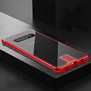 Luxury Aluminum Metal Frame Mirror Cover Case 360 Degrees T02 for Samsung Galaxy S10 Red