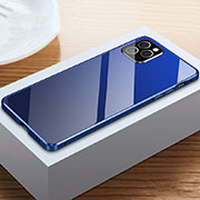 Luxury Aluminum Metal Frame Mirror Cover Case 360 Degrees T03 for Apple iPhone 12 Pro Blue