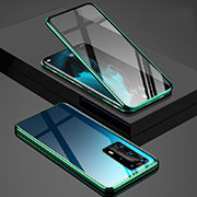 Luxury Aluminum Metal Frame Mirror Cover Case 360 Degrees T03 for Huawei P40 Pro+ Plus Green