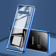 Luxury Aluminum Metal Frame Mirror Cover Case 360 Degrees T03 for Samsung Galaxy S10 Blue