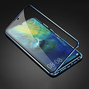 Luxury Aluminum Metal Frame Mirror Cover Case 360 Degrees T05 for Huawei Mate 20 Blue