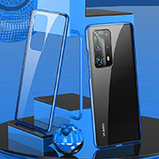 Luxury Aluminum Metal Frame Mirror Cover Case 360 Degrees T05 for Huawei P40 Pro+ Plus Blue