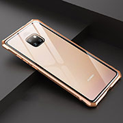Luxury Aluminum Metal Frame Mirror Cover Case 360 Degrees T07 for Huawei Mate 20 Gold
