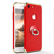 Luxury Metal Frame and Plastic Back Case with Finger Ring Stand for Apple iPhone SE (2020) Red