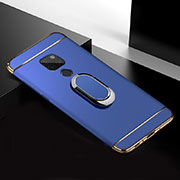 Luxury Metal Frame and Plastic Back Cover Case with Finger Ring Stand T01 for Huawei Mate 20 Blue