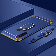 Luxury Metal Frame and Plastic Back Cover Case with Finger Ring Stand T01 for Xiaomi Redmi Note 8 Blue