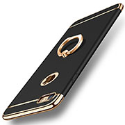 Luxury Metal Frame and Plastic Back Cover with Finger Ring Stand A01 for Apple iPhone SE (2020) Black