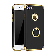 Luxury Metal Frame and Plastic Back Cover with Finger Ring Stand A02 for Apple iPhone SE (2020) Black