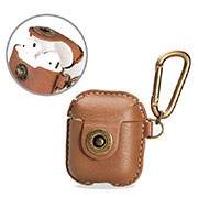 Protective Leather Case Skin for Apple Airpods Charging Box with Keychain for Apple AirPods Brown