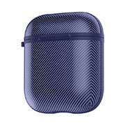 Protective Silicone Case Skin for Apple Airpods Charging Box with Keychain C09 for Apple AirPods Blue