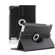 Rotating Stands Flip Leather Case for Apple iPad 2 Black