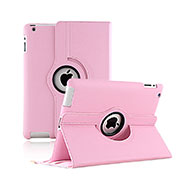 Rotating Stands Flip Leather Case for Apple iPad 2 Pink