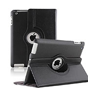 Rotating Stands Flip Leather Case for Apple iPad 3 Black