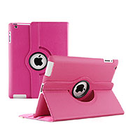 Rotating Stands Flip Leather Case for Apple iPad 3 Hot Pink