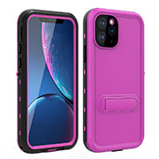 Silicone and Plastic Waterproof Cover Case 360 Degrees Underwater Shell with Stand for Apple iPhone 11 Pro Max Hot Pink