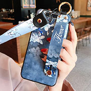 Silicone Candy Rubber Gel Flowers Soft Case Cover S07 for Samsung Galaxy A80 Blue