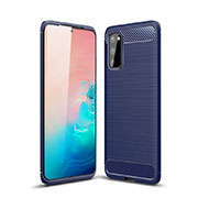 Silicone Candy Rubber TPU Line Soft Case Cover C01 for Samsung Galaxy S20 5G Blue