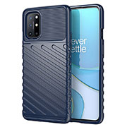 Silicone Candy Rubber TPU Twill Soft Case Cover S01 for OnePlus 8T 5G Blue