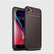 Silicone Candy Rubber TPU Twill Soft Case Cover S02 for Apple iPhone SE (2020) Brown