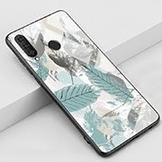 Silicone Frame Fashionable Pattern Mirror Case Cover K02 for Huawei P30 Lite Sky Blue