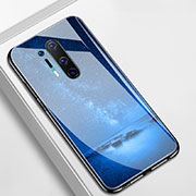 Silicone Frame Fashionable Pattern Mirror Case Cover M01 for OnePlus 8 Pro Blue