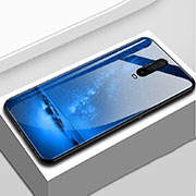 Silicone Frame Fashionable Pattern Mirror Case Cover S02 for Xiaomi Redmi K30 5G Blue