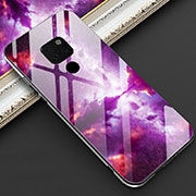 Silicone Frame Fashionable Pattern Mirror Case Cover Z01 for Huawei Mate 20 Purple