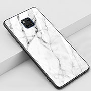 Silicone Frame Fashionable Pattern Mirror Case Cover Z02 for Huawei Mate 20 Pro White