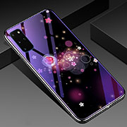 Silicone Frame Flowers Mirror Case Cover M01 for Samsung Galaxy S20 Plus 5G Purple