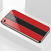 Silicone Frame Mirror Case Cover M01 for Apple iPhone SE (2020) Red