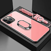Silicone Frame Mirror Case Cover with Magnetic Finger Ring Stand T01 for Apple iPhone 11 Pro Pink