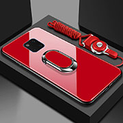 Silicone Frame Mirror Case Cover with Magnetic Finger Ring Stand T01 for Huawei Mate 20 Pro Red